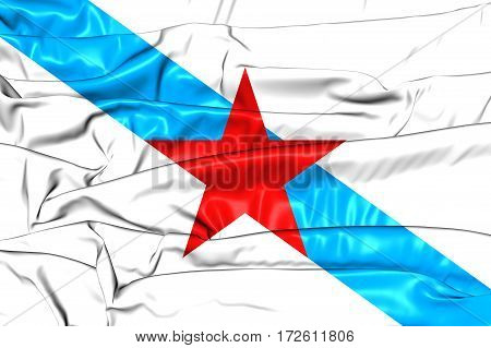 Socialist Nationalist Galician Flag. 3D Illustration. Front View.