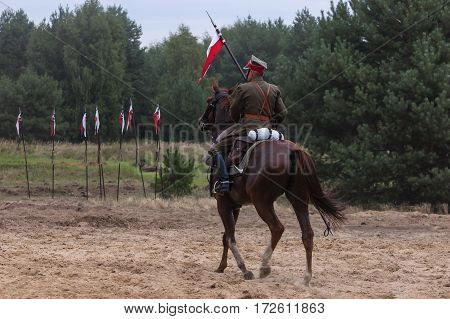 POLAND - AUGUST: Participant groups reconstructive Polish cavalry - a show of uniforms and compulsory horsemanship former army