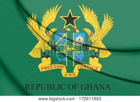 Seal of Ghana. 3D Illustration. Front View.