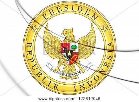 Indonesian Presidential Seal (version). 3D Illustration. Front View.