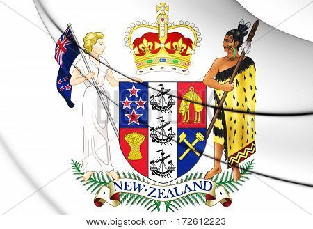 New Zealand Coat Of Arms. 3D Illustration.