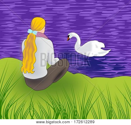 A girl sitting at the riverbank and watching a swan.