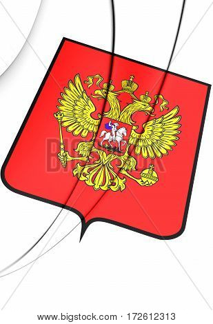 Russia Coat of Arms. 3D Illustration. Front View.