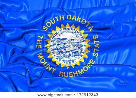 3D Flag Of South Dakota, Usa. 3D Illustration.