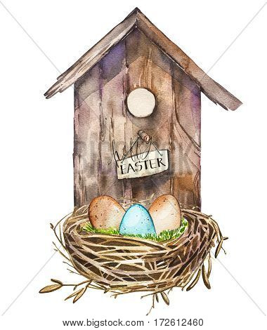 Watercolor birdhouse. Hand painted nesting box isolated on white background.