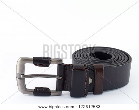 closeup dark brown leather belt isolated on white background