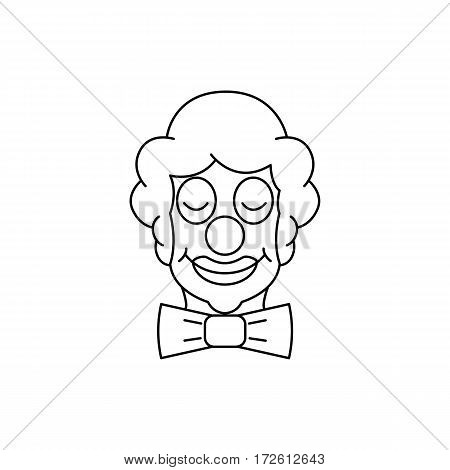 Image Clown with closed eyes and a butterfly tie in the outline style. Vector illustration.