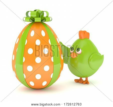 3D Render Of Easter Chick With Painted Egg