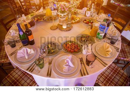 Beautifully decorated table in a romantic setting
