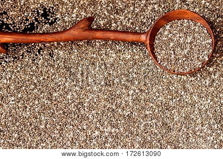 Wooden spoon and Chia seeds. Concept of detox and healthy eating. For background, backdrop, substrate, composition use. Copy space.