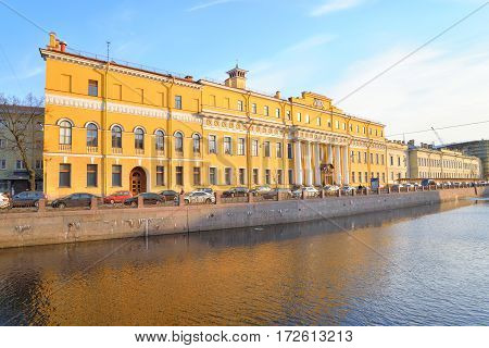 View of Moyka River and Yusupov Palace in St.Petersburg Russia.
