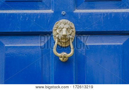 original brass knocker in the shape of a lion's head placed under the visor on doors wooden doors blue beautiful decoration