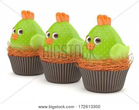 3D Render Of Easter Chicks In Nests