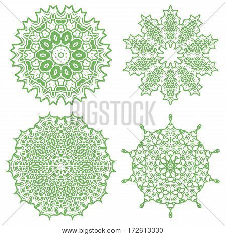Green Ornamental Line Pattern. Endless Texture. Oriental Geometric Ornament