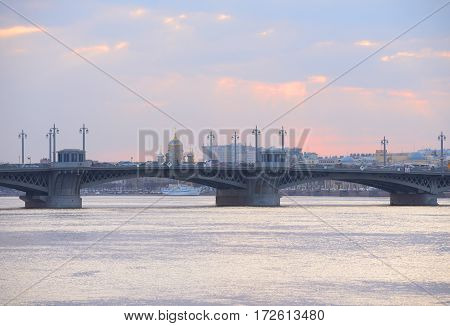 Annunciation bridge and Neva River at sunset in St.Petersburg Russia.