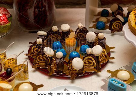 Beautifully decorated banquet catering with candy bar