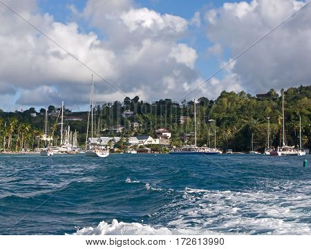 Sailing in the Caribbean islands. Wonderful harbors and calm bays. Marigot Bay in St. Lucia.
