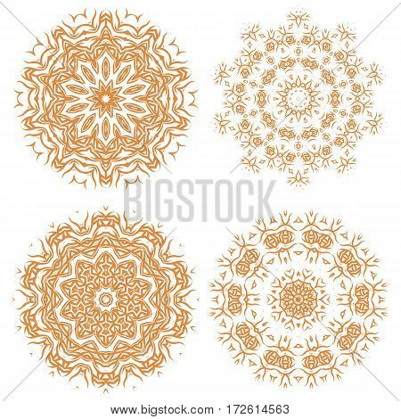 Orange Ornamental Line Pattern. Endless Texture. Oriental Geometric Ornament