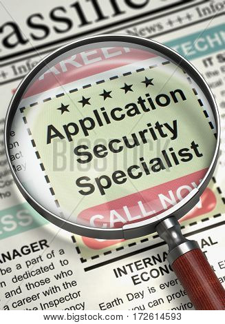 Application Security Specialist - Close View Of A Classifieds Through Loupe. Newspaper with Jobs Application Security Specialist. Hiring Concept. Blurred Image with Selective focus. 3D Illustration.