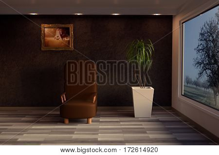 3d rendering of lounge room with grunge wall and wooden floor