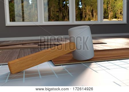 3d rendering of hammer laying on laminate panels