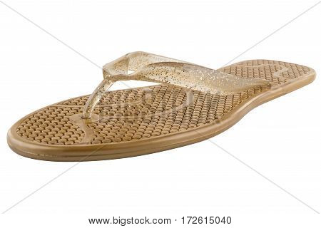 Brown Rubber flip-flops isolated on white background
