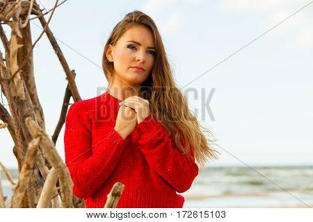 Portrait Of Gorgeous Fashionable Woman Outdoor.