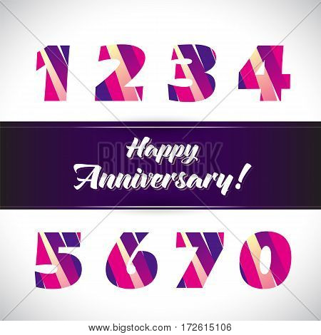 Vector set of anniversary signs, symbols. Ten, fifteen, twenty, thirty, forty, fifty, sixty seventy years jubilee design elements collection