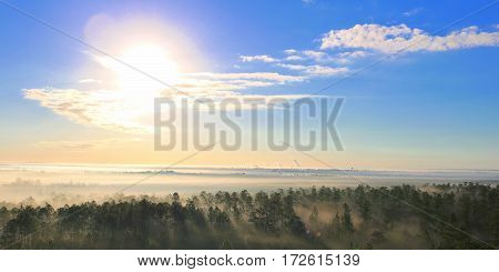 Beautiful morning sky from 100 feet in the air as the fog was lifting