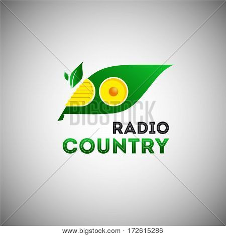 Ecological radio logo template with green leaf silhouette