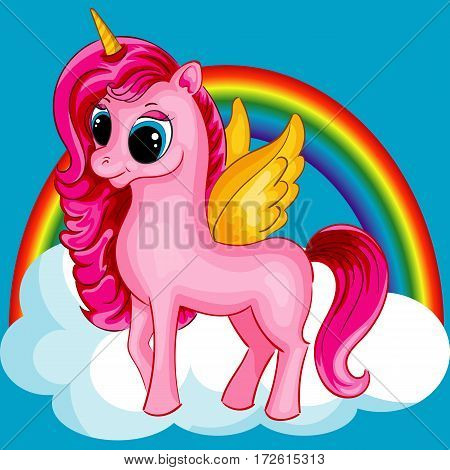 Pony Unicorn with Golden Wings and Big Eyes on the Cloud with Rainbow, Multicolor, Vector Illustration