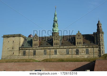 A view of Kronborg castle in Helsingor