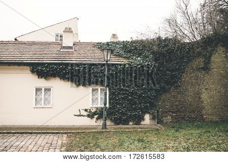 The house is covered in ivy with a lantern. Traditional Czech unusual beautiful house on Cerninska street in Hradcany district of Prague - the capital of the Czech Republic, Europe.