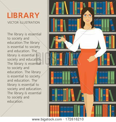 Librarian is on a background bookcase. Beautiful girl in the library. Library