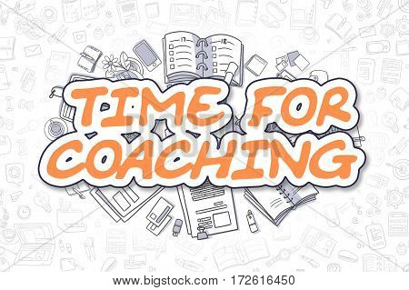 Cartoon Illustration of Time For Coaching, Surrounded by Stationery. Business Concept for Web Banners, Printed Materials.