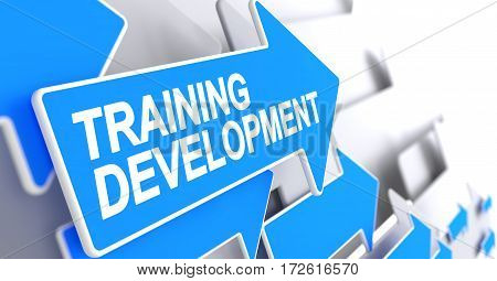 Training Development - Blue Arrow with a Text Indicates the Direction of Movement. Training Development, Text on Blue Cursor. 3D.