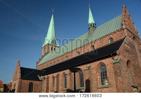 A view of spires on the church building in Helsingor