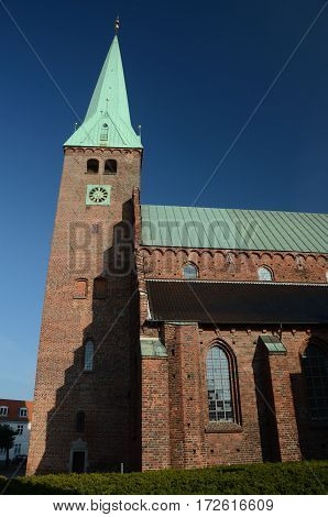 A view of the church tower in Helsingor