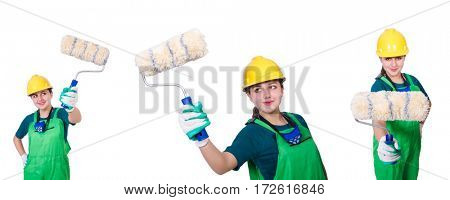 Woman painter isolated on white