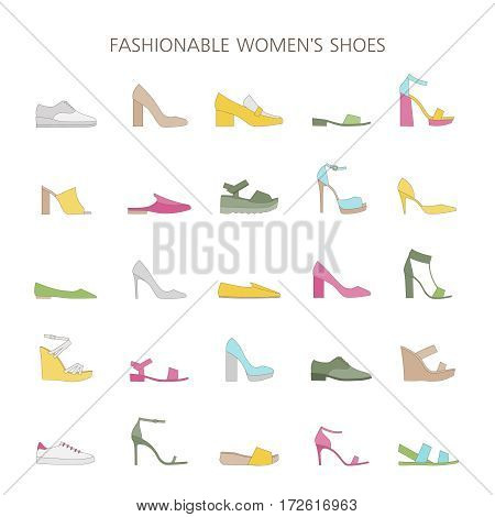 Set with different types of trendy shoes. Women's collection of spring, summer and autumn