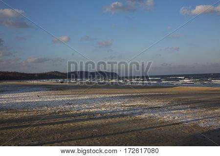 Sea landscape with a view of the cliff in Sopot.