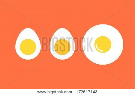 Set Of Boiled Eggs. Flat Vector Icons For Food Decor.