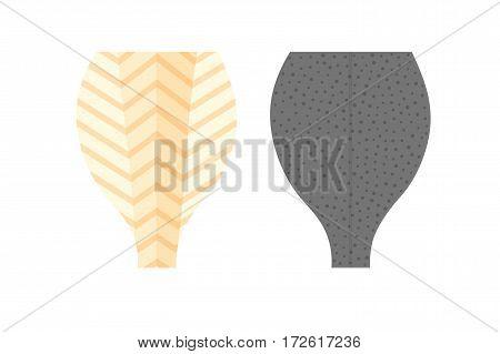 Sliced Halibut Flounder Flatfish Vector Illustration Isolated On White Background.