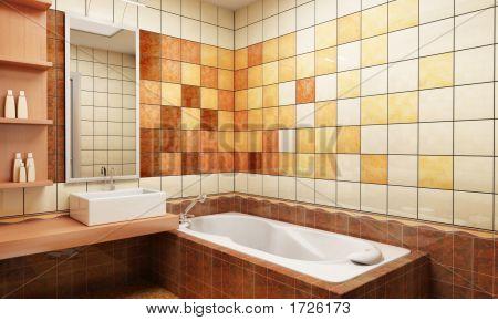 Tiled Design Of The Bathroom