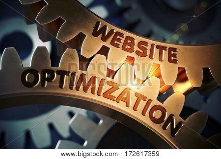 Website Optimization Golden Metallic Cog Gears. Website Optimization on the Mechanism of Golden Cogwheels with Glow Effect. 3D Rendering.