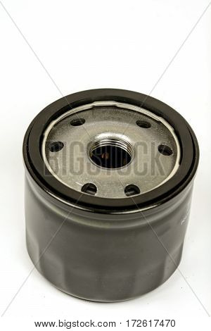 Black Metal Car Oil Filter Isolated Over White Background