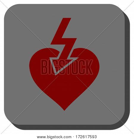 Heart Shock Strike square button. Vector pictograph style is a flat symbol on a rounded square button dark red and black colors.
