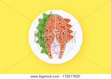 Raw Salmon Steak On The White Plate. Flat Vector Illustration With Fish Meat.