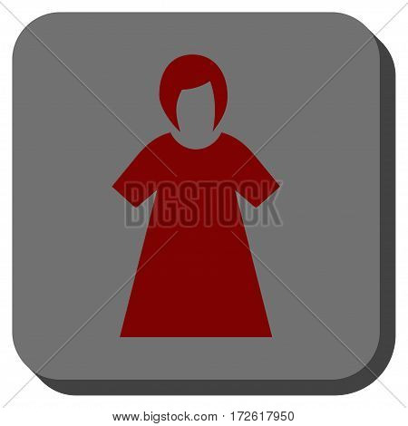 Lady Figure interface toolbar icon. Vector pictograph style is a flat symbol inside a rounded square button dark red and black colors.