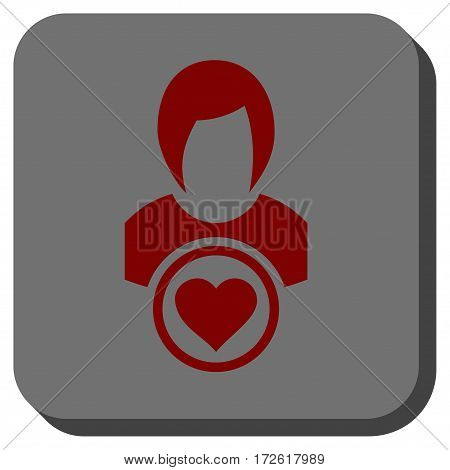 Lady Love interface icon. Vector pictograph style is a flat symbol centered in a rounded square button dark red and black colors.